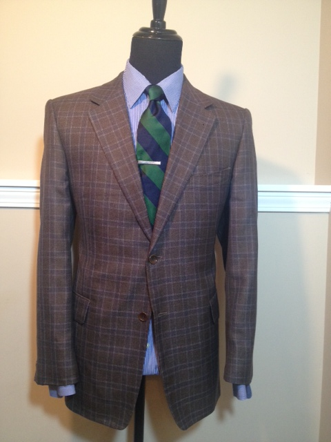 Brown Navy Plaid Sport Coat