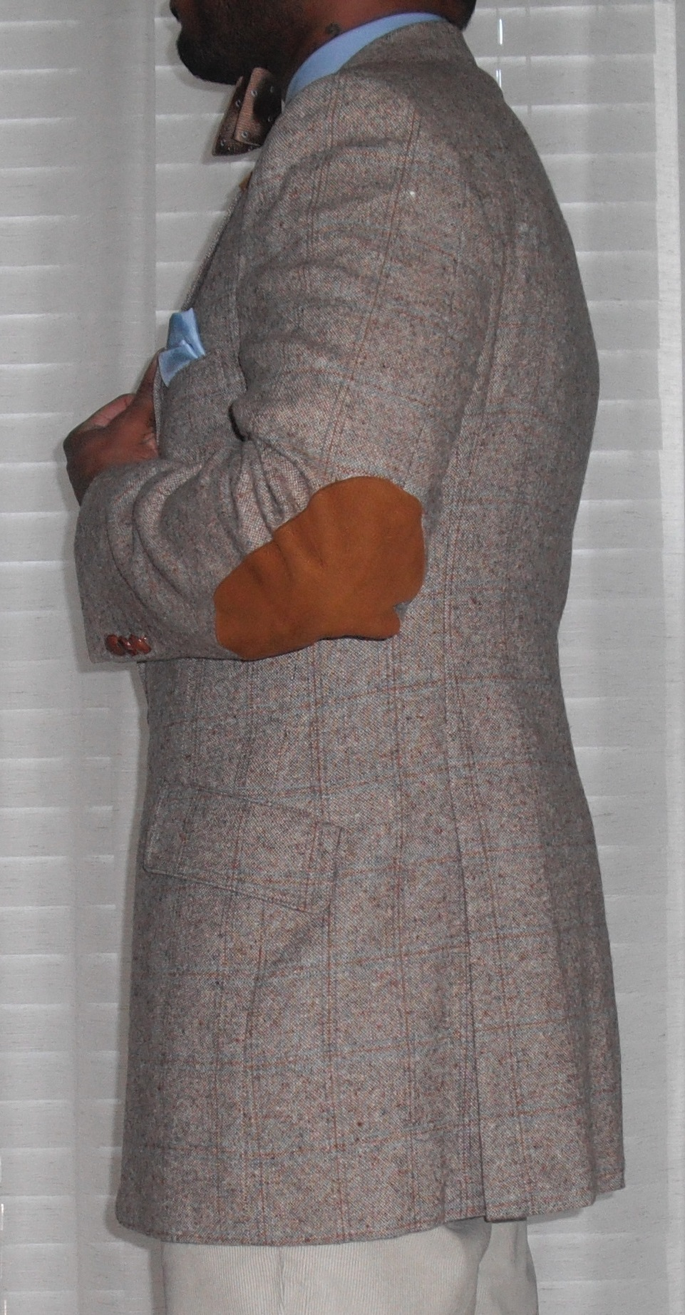 Vintage Blazer With Leather Elbow Patches And Side Vent Vintage