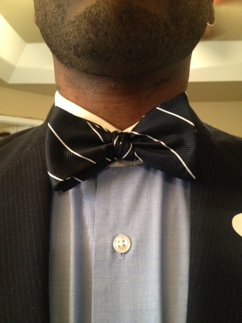 Stripe silk bow tie vintage dope dealer for Spread collar dress shirt without tie