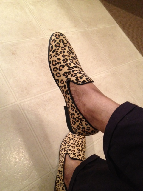 Suede leopard print slippers are by Steve Madden. Loafer socks (not seen)  are also by Steve Madden.